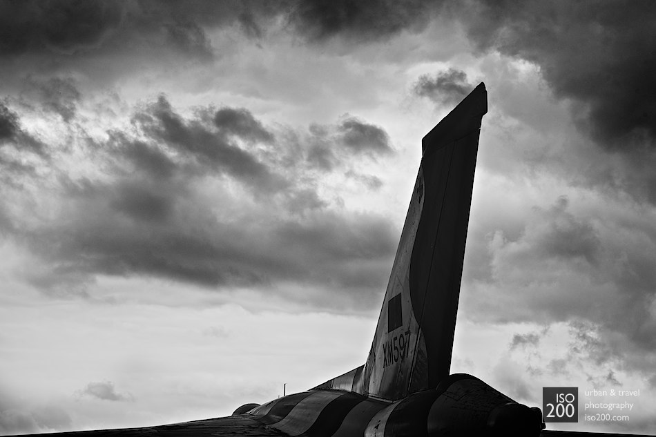 The Avro Vulcan, a jet-powered delta wing strategic bomber on static display at the Museum of Flight, East Fortune. Despite the aircraft's relative rarity, describing it as a 'static display' is a misnomer - the Vulcan has clearly been parked and left to rot, as is not uncommon for the outdoor displays at East Fortune.