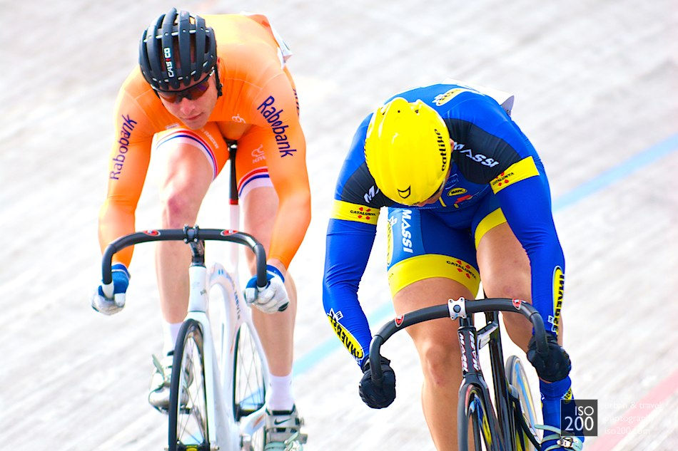 Itmar Esteban Herraiz - riding for Catalonia - beats Dutch rider Yondi Schmidt in a sprint at an international track cycling meet at the Meadowbank Velodrome in Edinburgh.