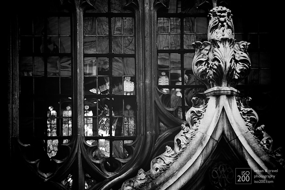 Detail of carving outside the windows of the Bodleian library, Oxford.