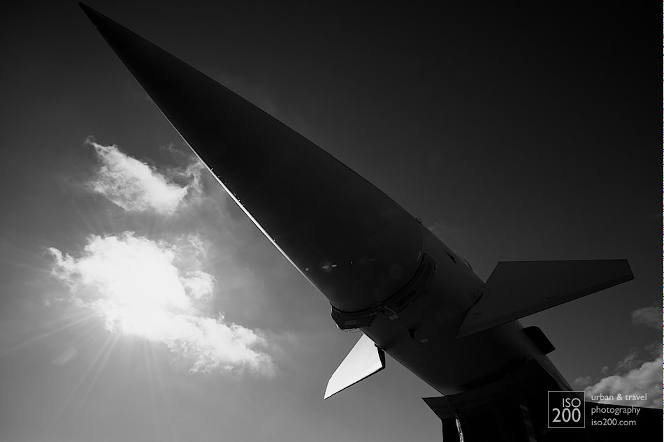 The nose of an RAF Eurofighter silhouetted against the morning sun at RAF Lechars.