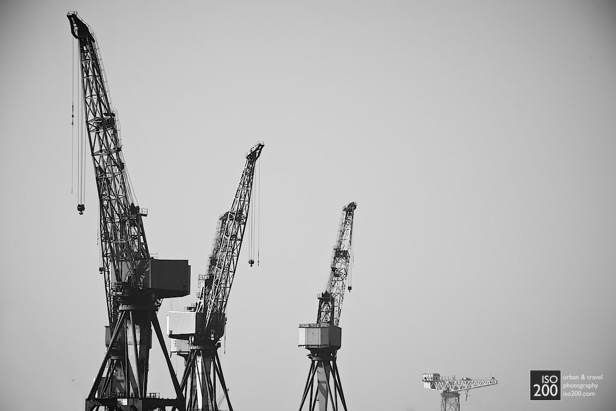 Three cranes from the BVT (BAE) shipyard in Govan - one of the last remaining shipyards on the River Clyde.