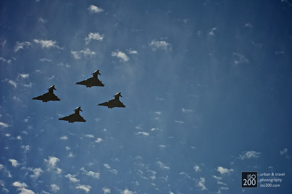 Four Eurofighters performing a flypast at the Leuchars Diamond Jubilee Airshow.