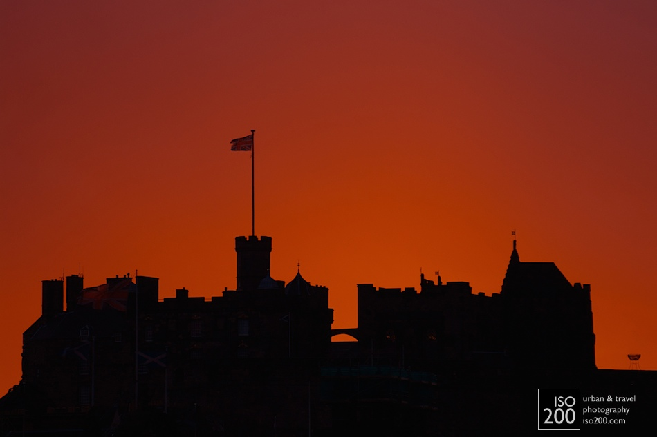 Edinburgh Castle in the gloaming - just after sunset.