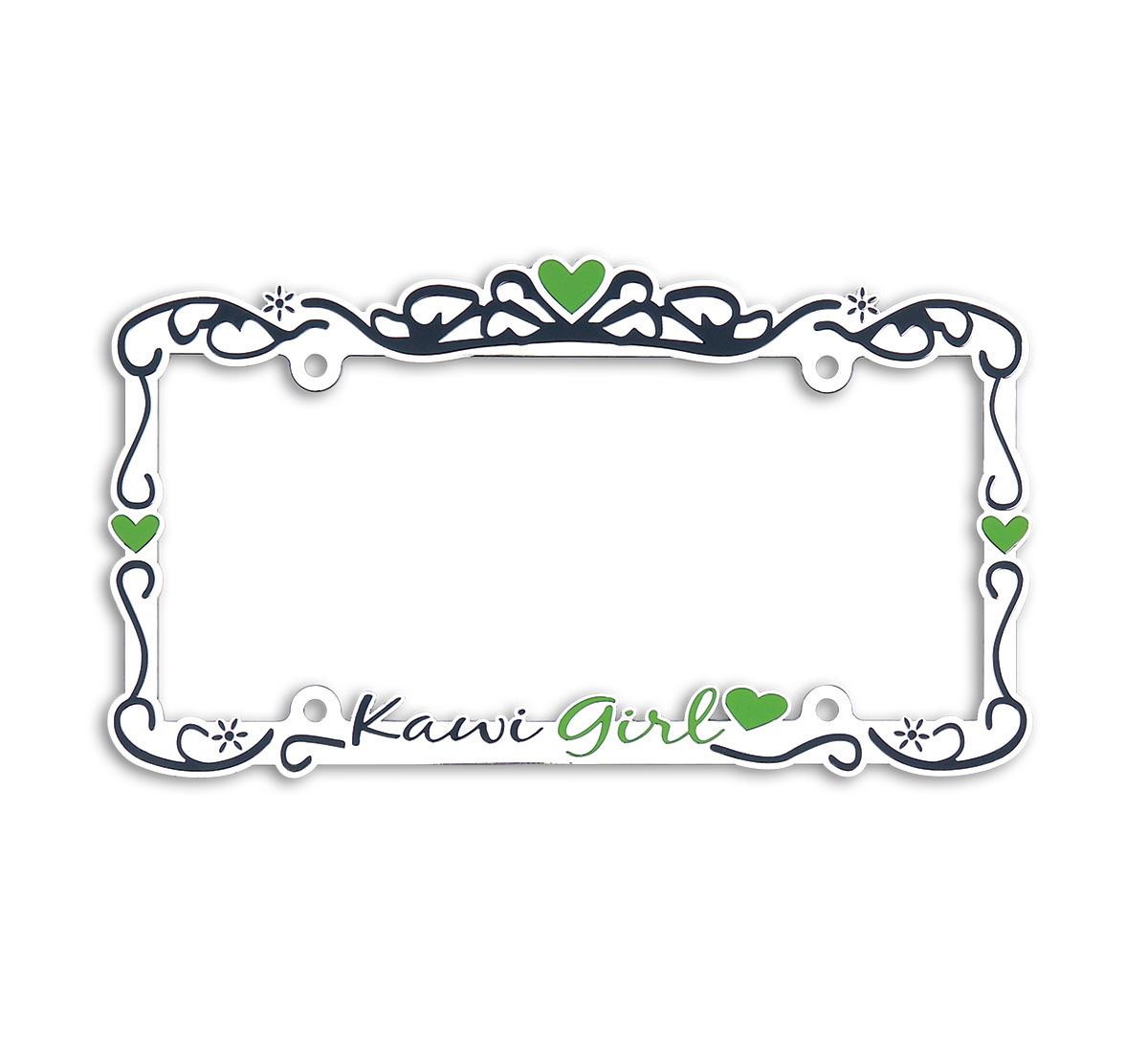 Kawi Girl Metal Chrome Auto License Plate Frame