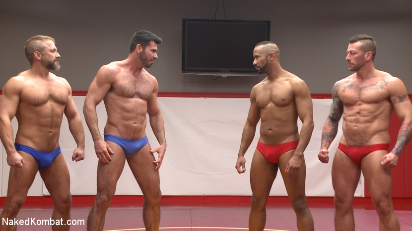 Muscle on Muscle: Live Tag Team Oil Match Between 4 Ripped Hunks! - Face Sitting