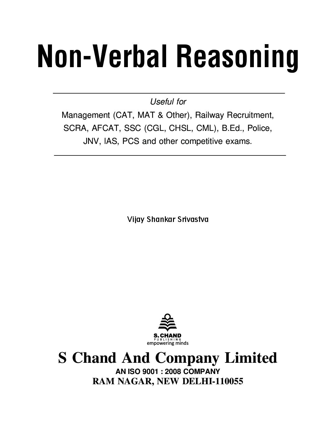 Download Non Verbal Reasoning By Vijay Shankar Srivastava