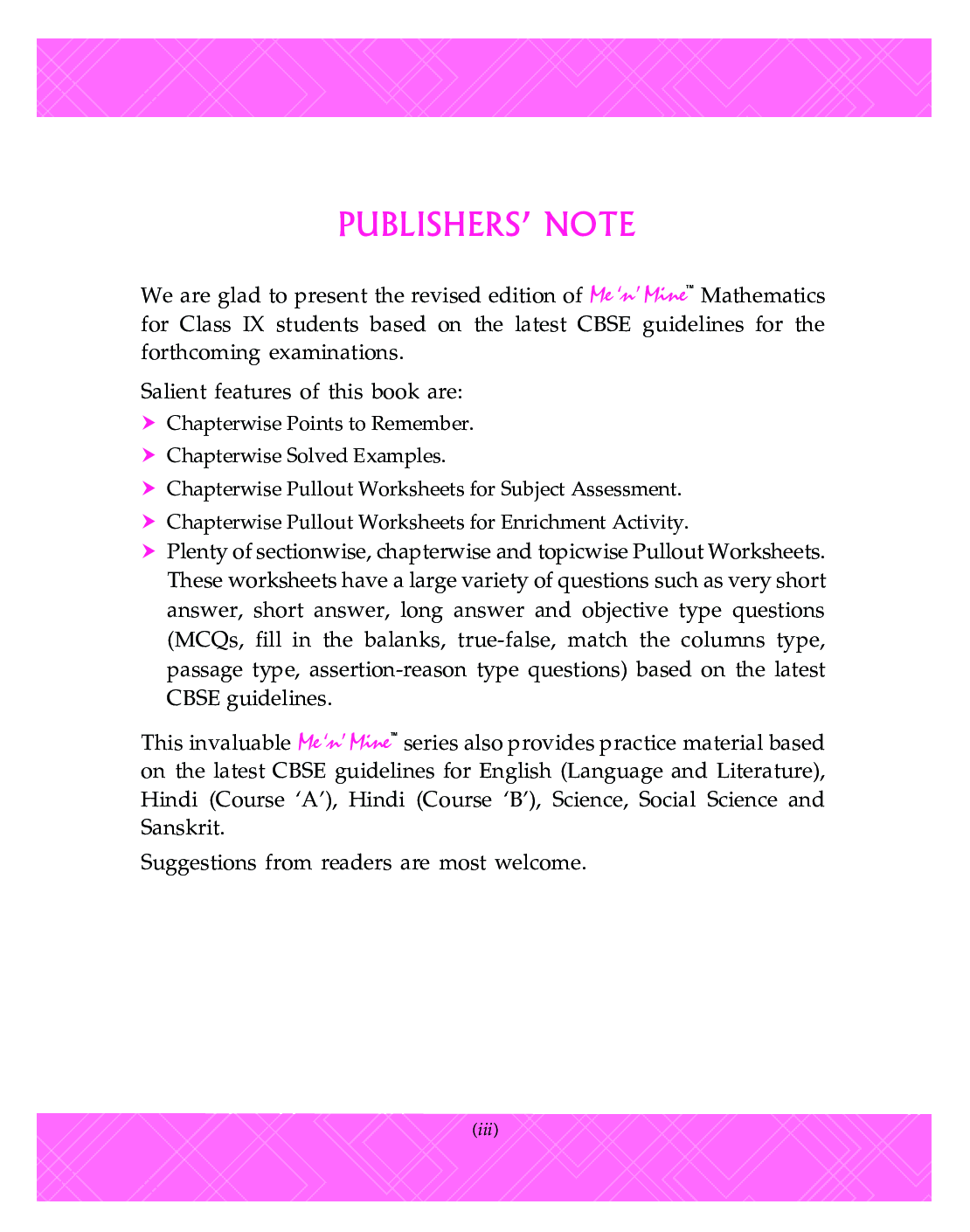 Download Cbse Pullout Worksheets Mathematics For Class