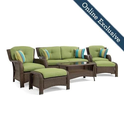 sawyer 6pc resin wicker patio furniture conversation set w cilantro green cushion