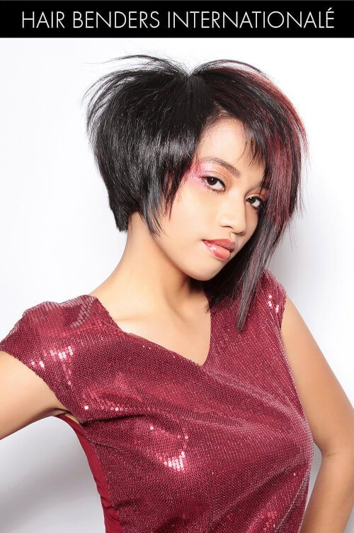 Dark Brown Hair Color with Magenta Highlights
