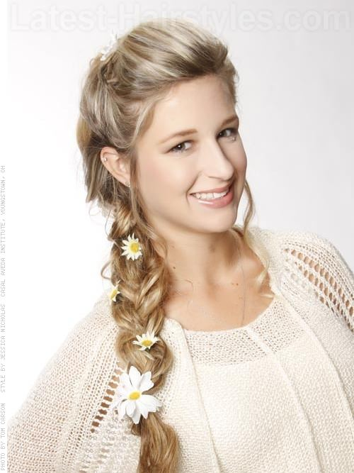 Daisy Decorated Braided Hairstyles for Prom