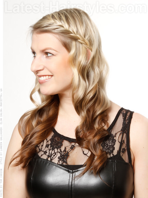 Frenchy Fringe Long Blonde Style with Side Waves and Front Braid - Side View