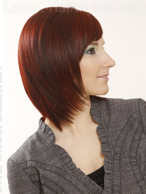 Rebel Layers Red Tapered Bob with Highlights Side View