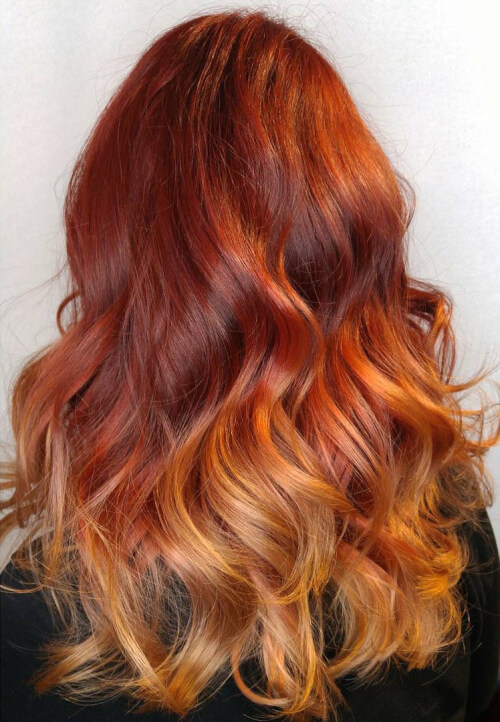 Natural Red Hair Reverse Ombre