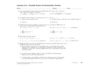 Geometric Series Worksheet - ommunist