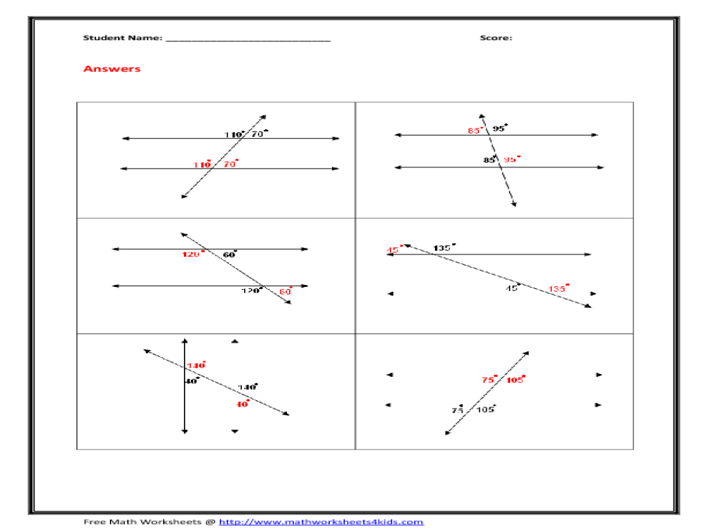 Parallel Lines With Transversal Worksheet