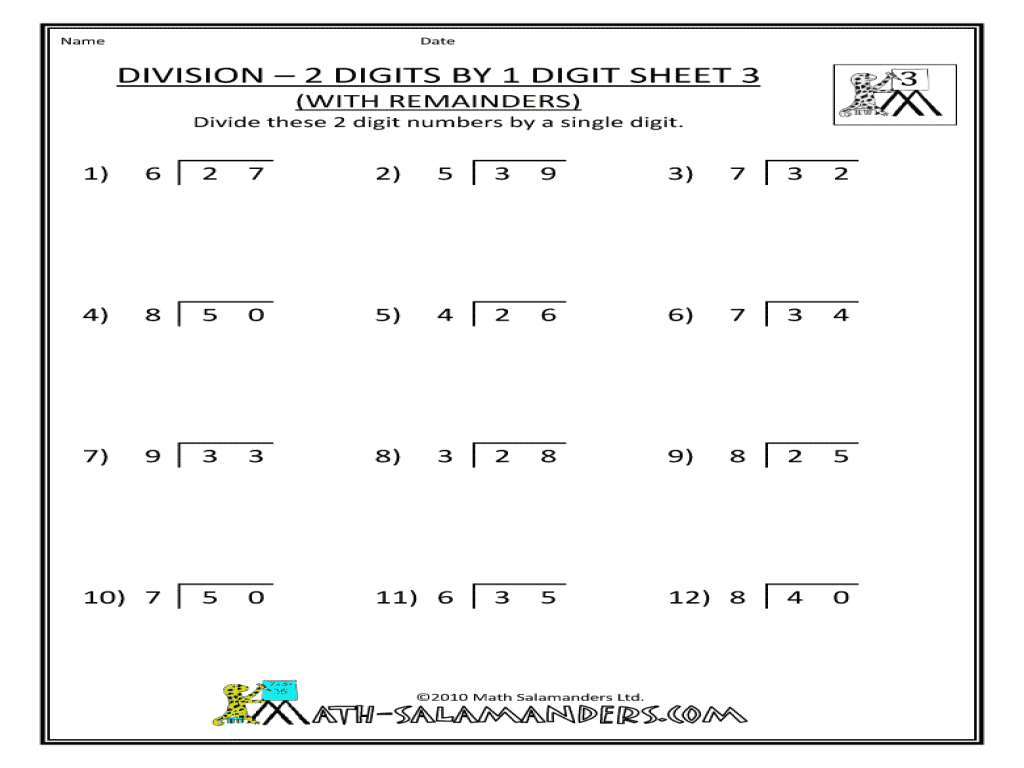 Division Worksheets 2 Digit By 3 Digit