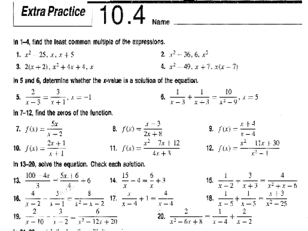 Solving Quadratic Equations 10 4