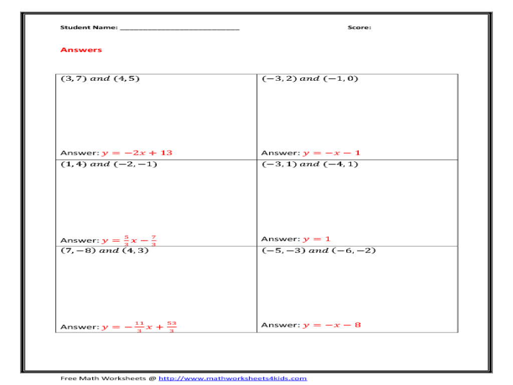 Sketch And Write The Equation For Each Line Worksheet Answers