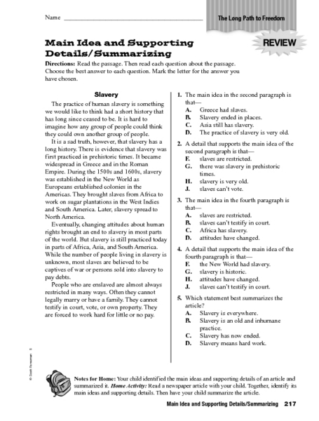 Main Idea And Supporting Details Worksheets - Delibertad