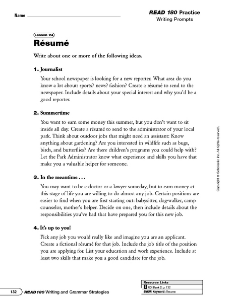 Blank Resume Worksheet For High School Students