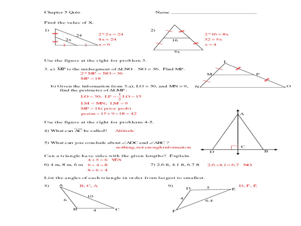 Easy Midsegment Theorem Worksheet Answers Goodsnyc