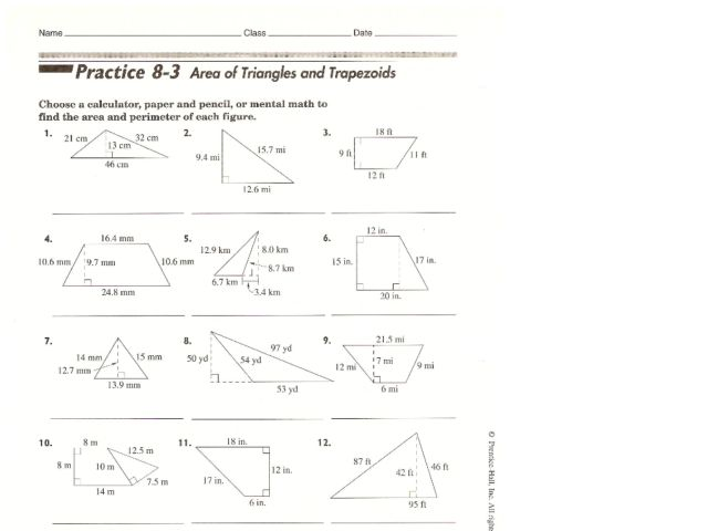 Area Of Triangles And Trapezoids Worksheet For 10th Grade