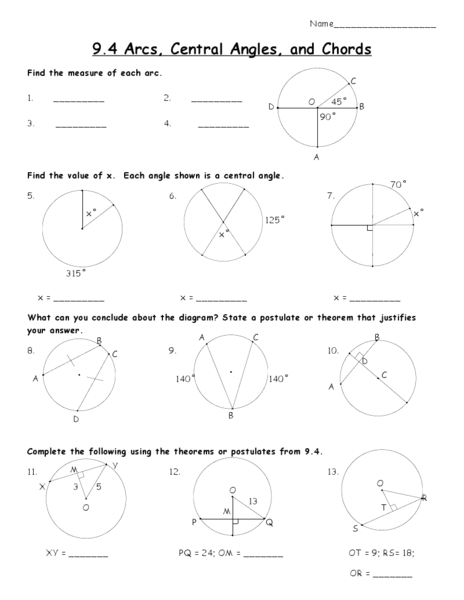 Arcs Central Angles And Chords Worksheet For 10th Grade