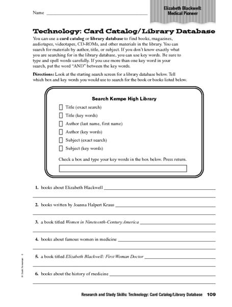 Technology Card Catalog Library Database Worksheet For 4th