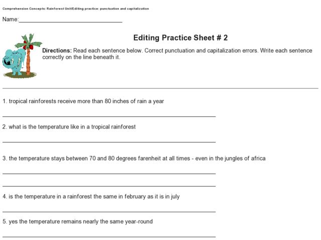 Editing Practice Sheet 2 Punctuation And Capitalization