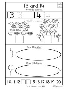 Learning 13 And 14 Write The Numbers Worksheet For Pre K Kindergarten Lesson Planet