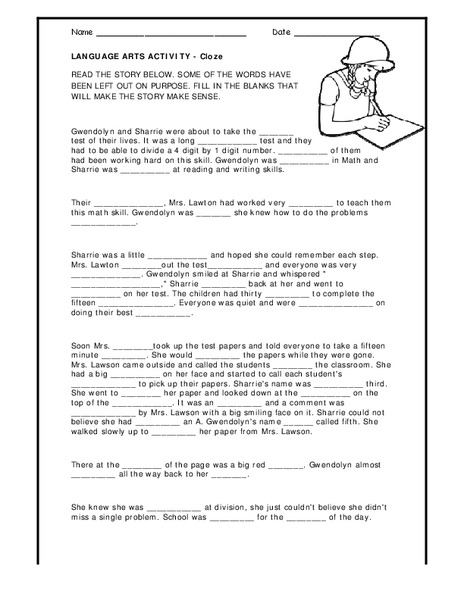 Language Arts Activity Cloze Worksheet For 3rd 4th Grade