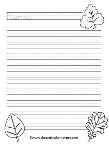 Fall Writing Paper Printables Template For 1st 3rd Grade