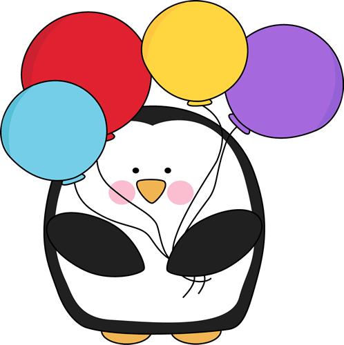 Penguin with Colorful Balloons