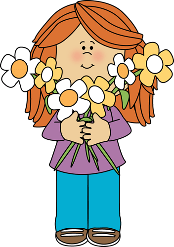 Girl Holding a Bunch of Flowers