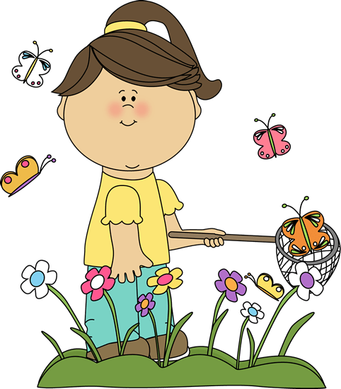 Girl Catching Butterflies