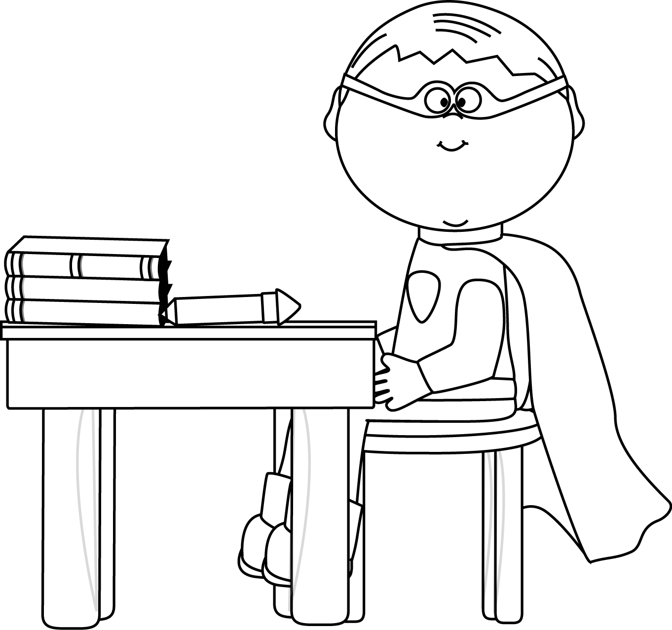 Black And White Boy Superhero At School Desk Clip Art