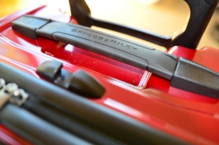 Close-up of the Briggs & Riley Torq Carry-on handle