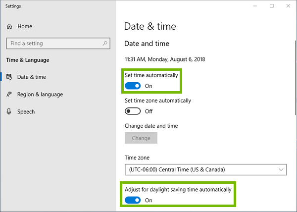 Date and time settings with Set time automatically and Adjust for daylight saving time automatically highlighted.