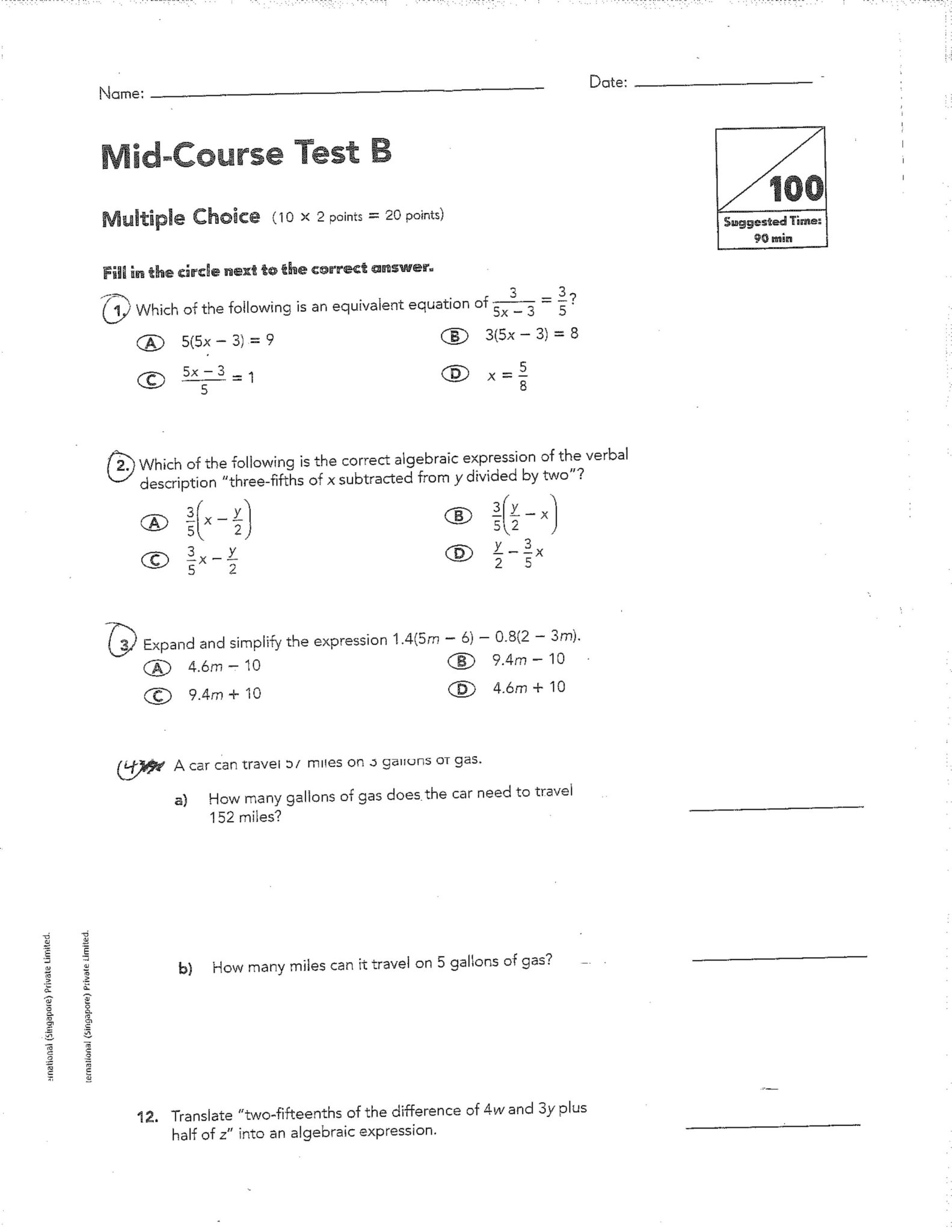 Questions Answers Integers Worksheet