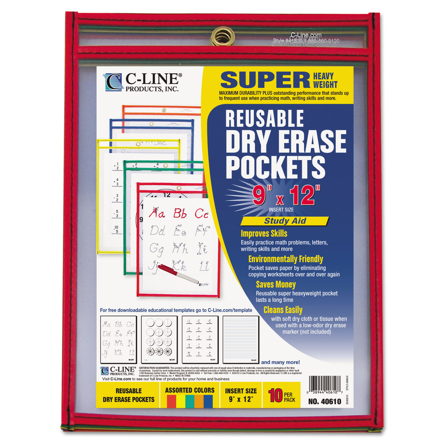 Reusable Dry Erase Pockets 9 X 12 Assorted Primary Colors 10 Pack