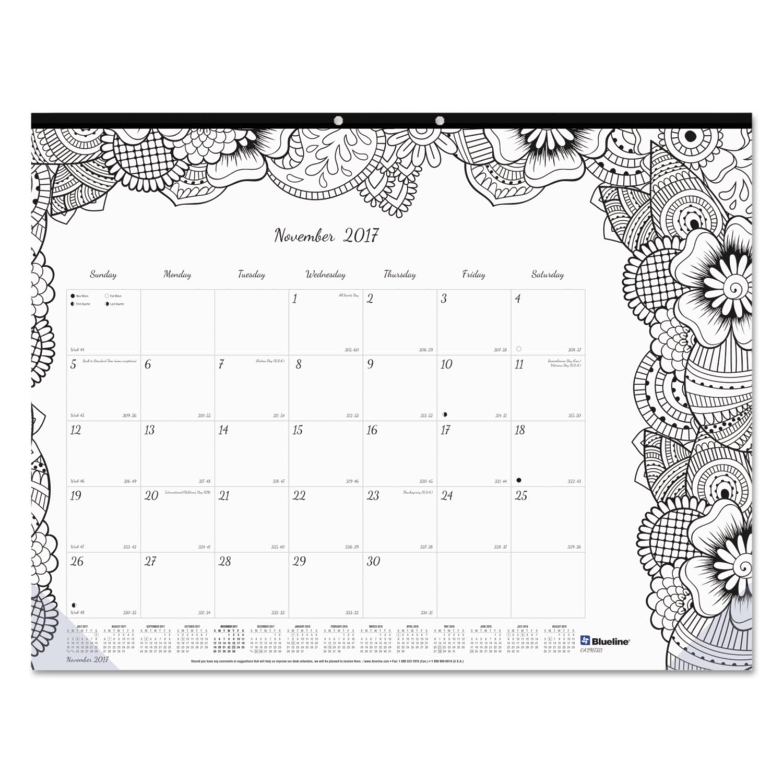 Academic Doodleplan Desk Pad Calendar W Coloring Pages By Blueline Redca