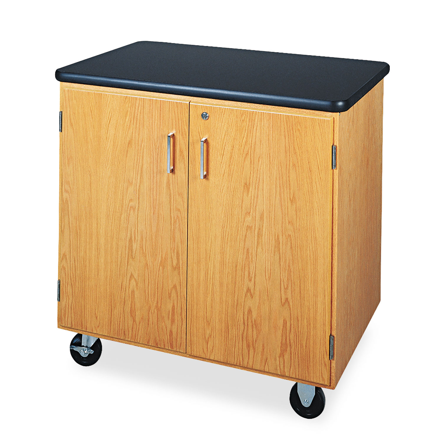 Mobile Storage Cabinet 36w X 24d X 36h Black Oak