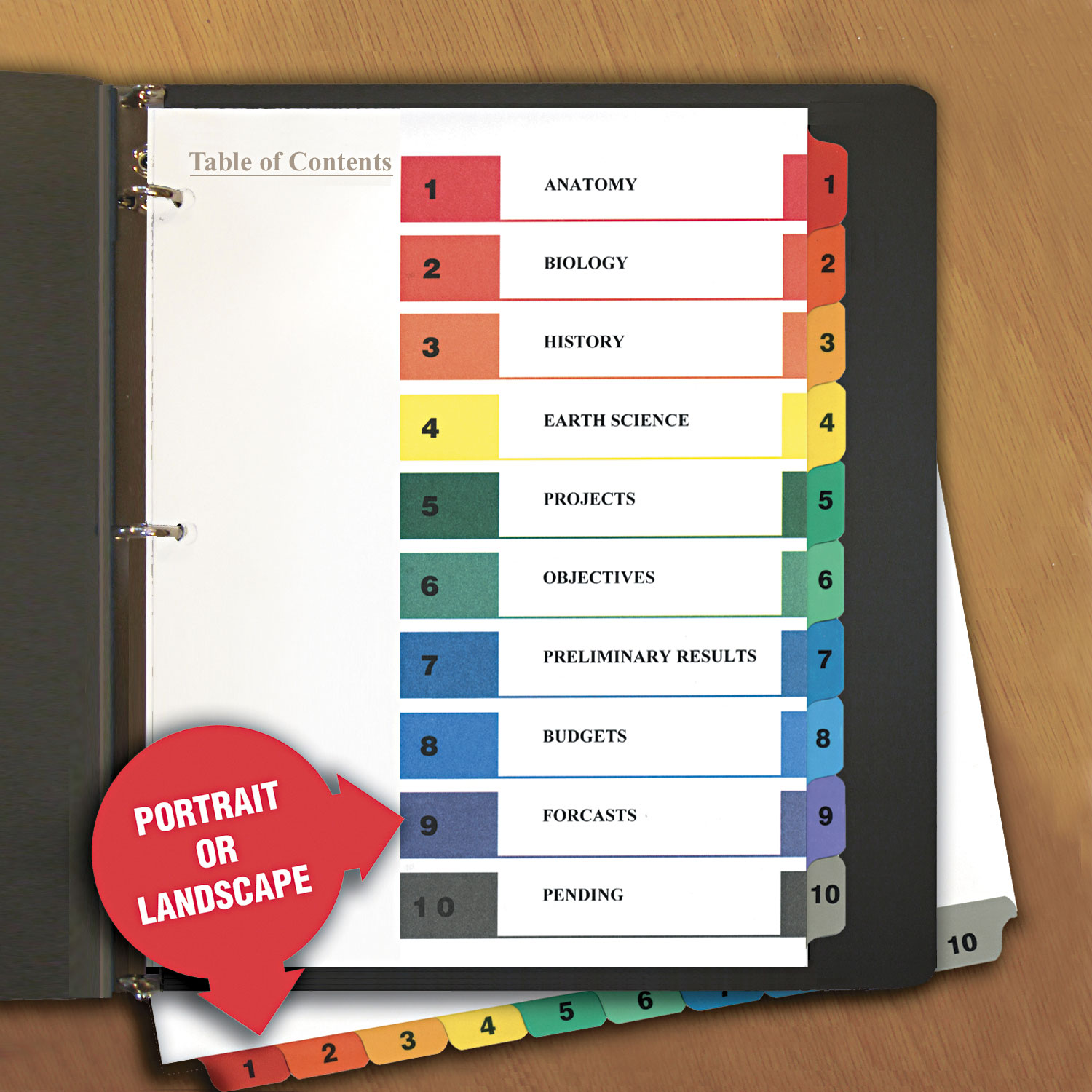Table Of Contents Dividers By Universal Unv