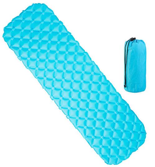 matelas isolant ultraleger d exterieur a gonflage rapide bleu
