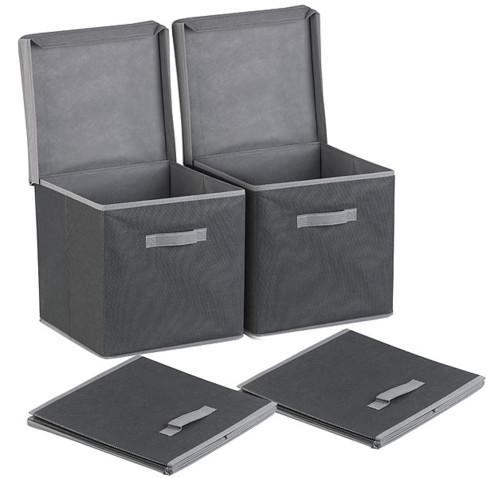 lot de 2 boites de rangement pliables avec couvercle noir