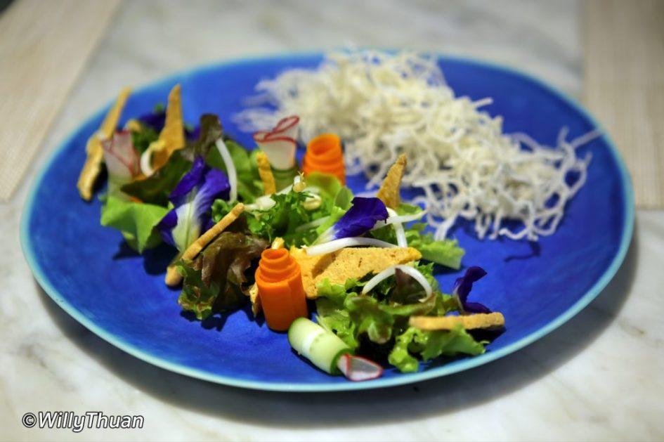 Hoo Chae (Phuketian salad with locally wild caught seafood and Phuket crispy rice noodle - 250 baht)