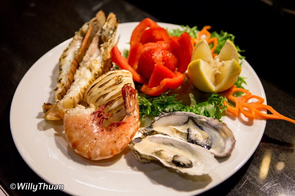 Seafood platter with a rock lobster