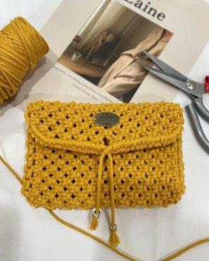 Macrame Crossbody Bag. Length 12cm. Width 18cm. Long strap 85cm.
