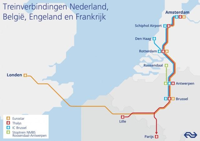 Treinverbindingen NL - België - Frankrijk - UK