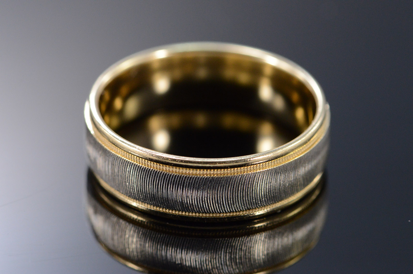 14K 7mm Two Tone Textured Mens Wedding Band Yellow Gold